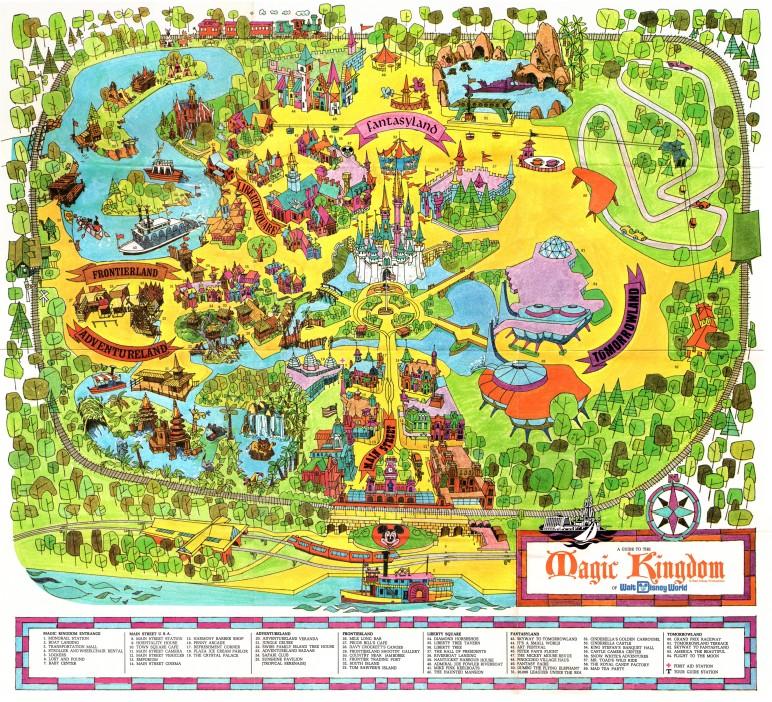 Walt Disney World Magic Kingdom Souvenir Map 1971 Disney