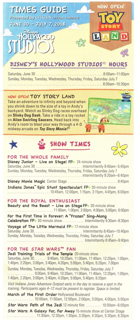 Toy Story Land Times Guide